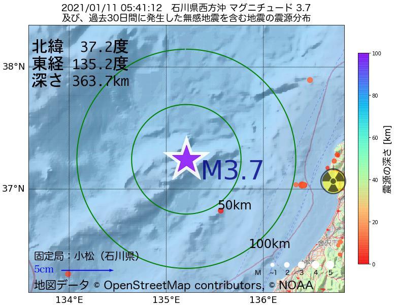 地震震源マップ:2021年01月11日 05時41分 石川県西方沖でM3.7の地震