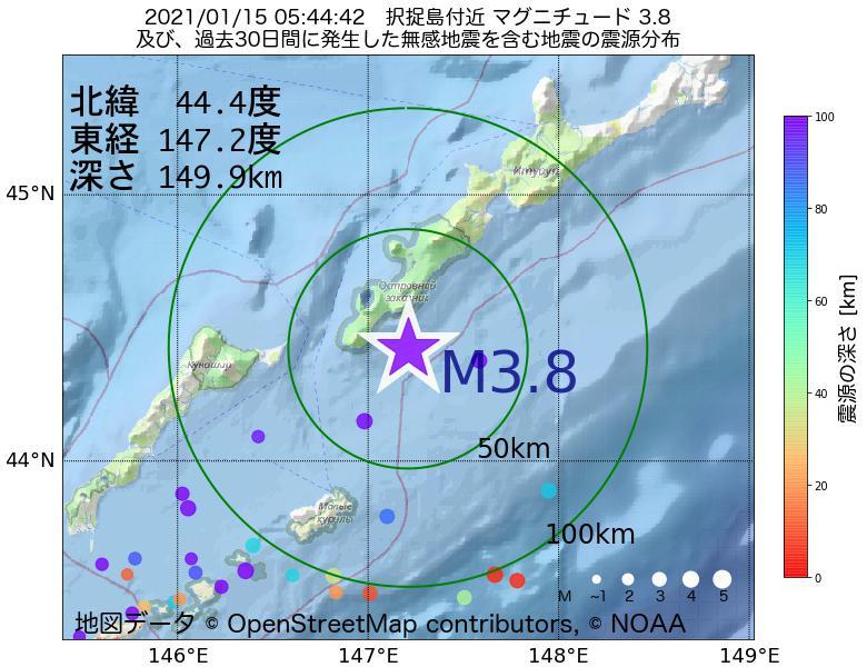 地震震源マップ:2021年01月15日 05時44分 択捉島付近でM3.8の地震