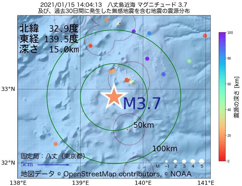 地震震源マップ:2021年01月15日 14時04分 八丈島近海でM3.7の地震