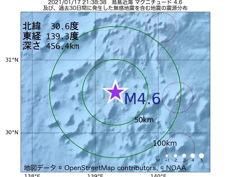地震震源マップ:2021年01月17日 21時38分 鳥島近海でM4.6の地震