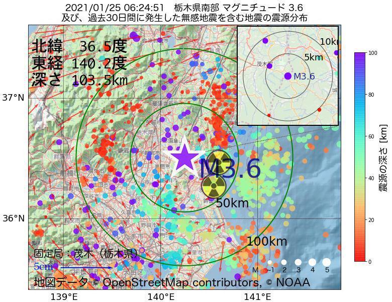 地震震源マップ:2021年01月25日 06時24分 栃木県南部でM3.6の地震