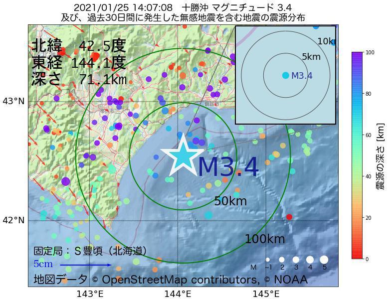地震震源マップ:2021年01月25日 14時07分 十勝沖でM3.4の地震