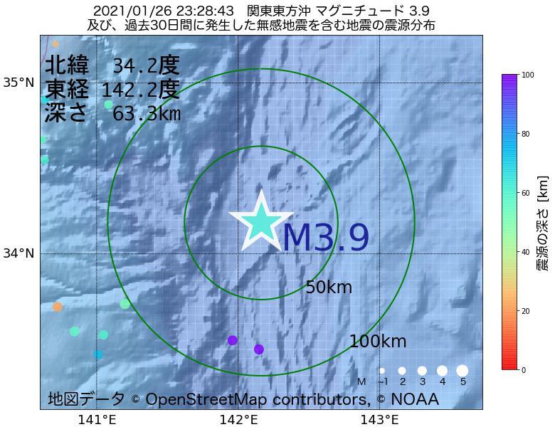 地震震源マップ:2021年01月26日 23時28分 関東東方沖でM3.9の地震