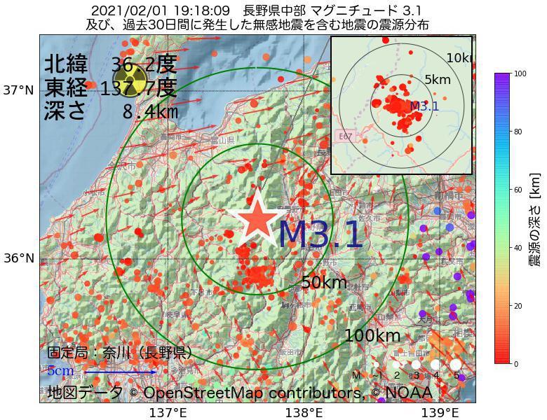 地震震源マップ:2021年02月01日 19時18分 長野県中部でM3.1の地震