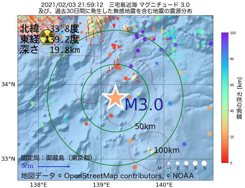地震震源マップ:2021年02月03日 21時59分 三宅島近海でM3.0の地震