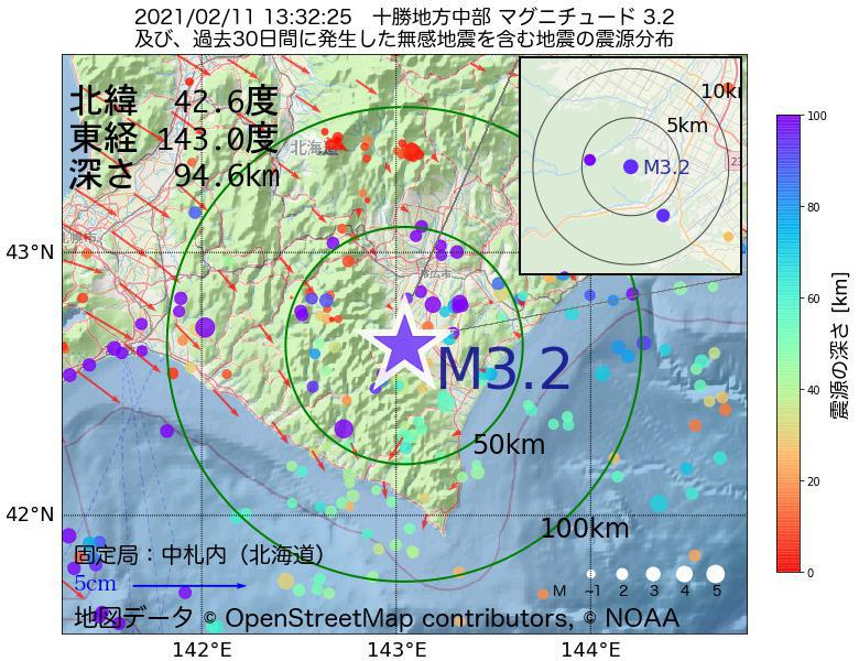 地震震源マップ:2021年02月11日 13時32分 十勝地方中部でM3.2の地震