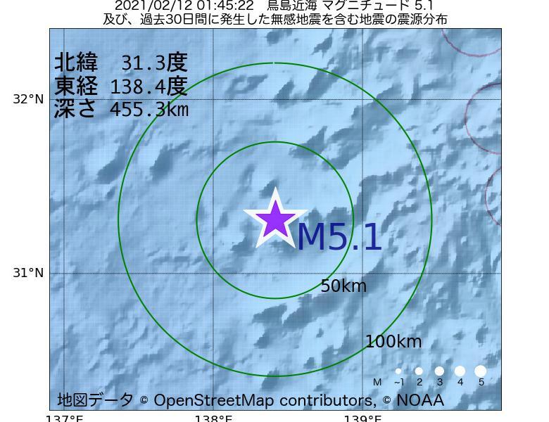 地震震源マップ:2021年02月12日 01時45分 鳥島近海でM5.1の地震