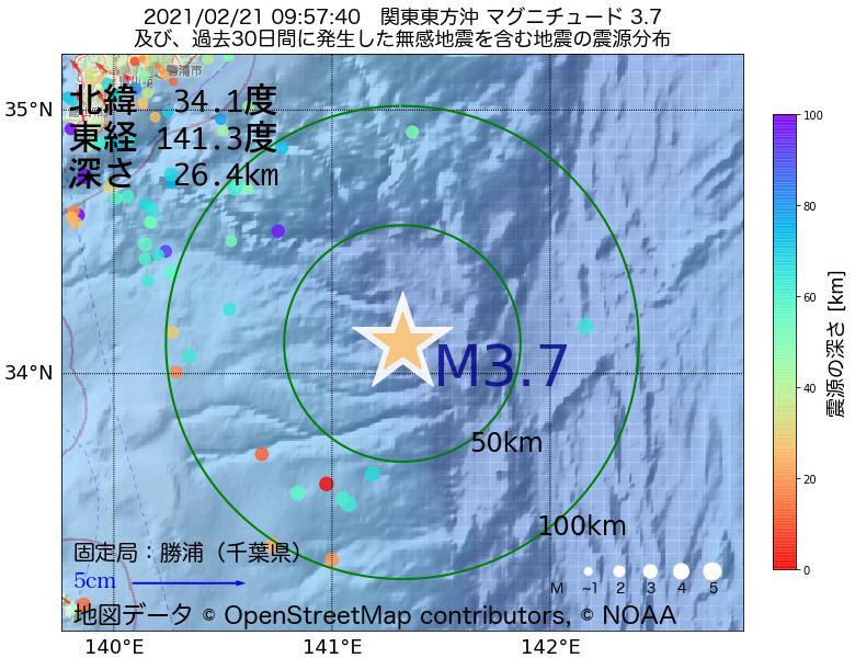 地震震源マップ:2021年02月21日 09時57分 関東東方沖でM3.7の地震