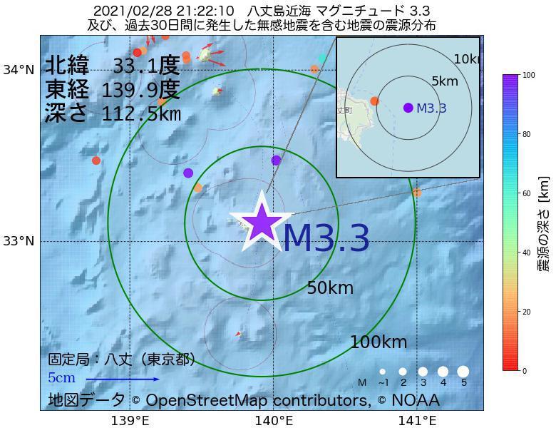 地震震源マップ:2021年02月28日 21時22分 八丈島近海でM3.3の地震