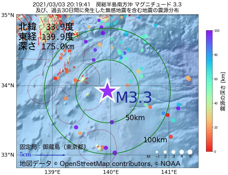 地震震源マップ:2021年03月03日 20時19分 房総半島南方沖でM3.3の地震