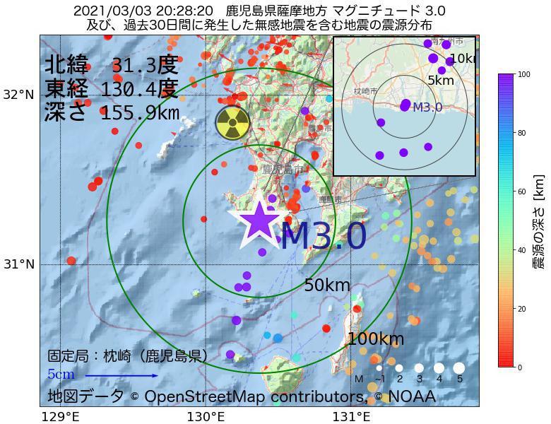 地震震源マップ:2021年03月03日 20時28分 鹿児島県薩摩地方でM3.0の地震
