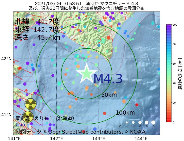 地震震源マップ:2021年03月06日 10時53分 浦河沖でM4.3の地震