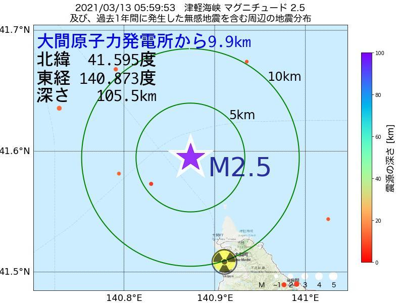 地震震源マップ:大間原子力発電所から9.9km地点でM2.5の地震が発生しました