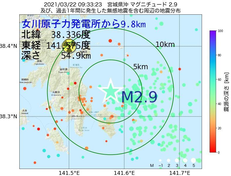 地震震源マップ:女川原子力発電所から9.8km地点でM2.9の地震が発生しました