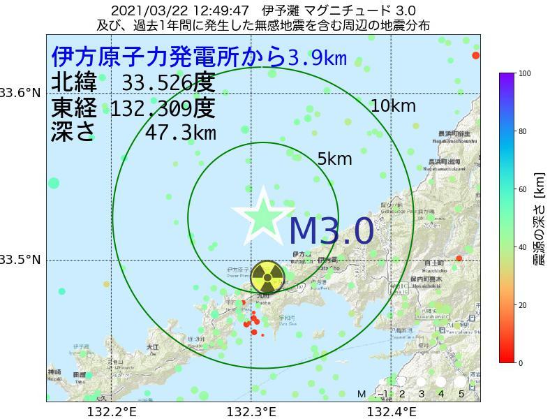 地震震源マップ:伊方原子力発電所から3.9km地点でM3.0の地震が発生しました