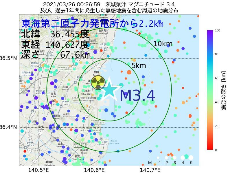 地震震源マップ:東海第二原子力発電所から2.2km地点でM3.4の地震が発生しました