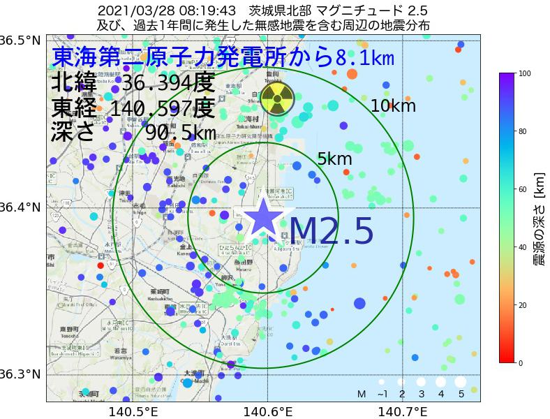 地震震源マップ:東海第二原子力発電所から8.1km地点でM2.5の地震が発生しました