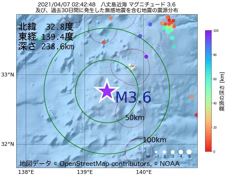 地震震源マップ:2021年04月07日 02時42分 八丈島近海でM3.6の地震