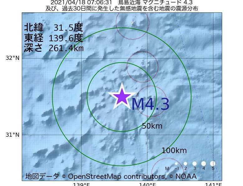 地震震源マップ:2021年04月18日 07時06分 鳥島近海でM4.3の地震
