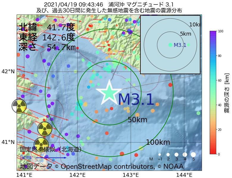 地震震源マップ:2021年04月19日 09時43分 浦河沖でM3.1の地震