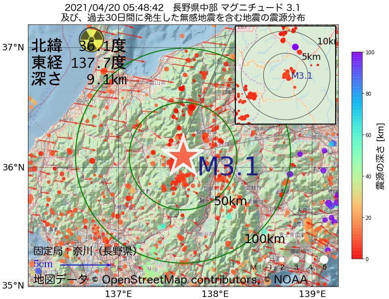 地震震源マップ:2021年04月20日 05時48分 長野県中部でM3.1の地震