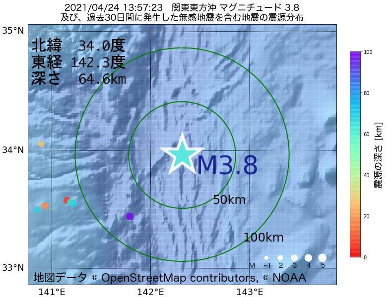 地震震源マップ:2021年04月24日 13時57分 関東東方沖でM3.8の地震