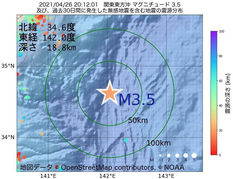 地震震源マップ:2021年04月26日 20時12分 関東東方沖でM3.5の地震