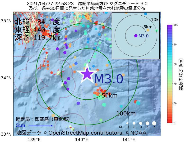 地震震源マップ:2021年04月27日 22時58分 房総半島南方沖でM3.0の地震