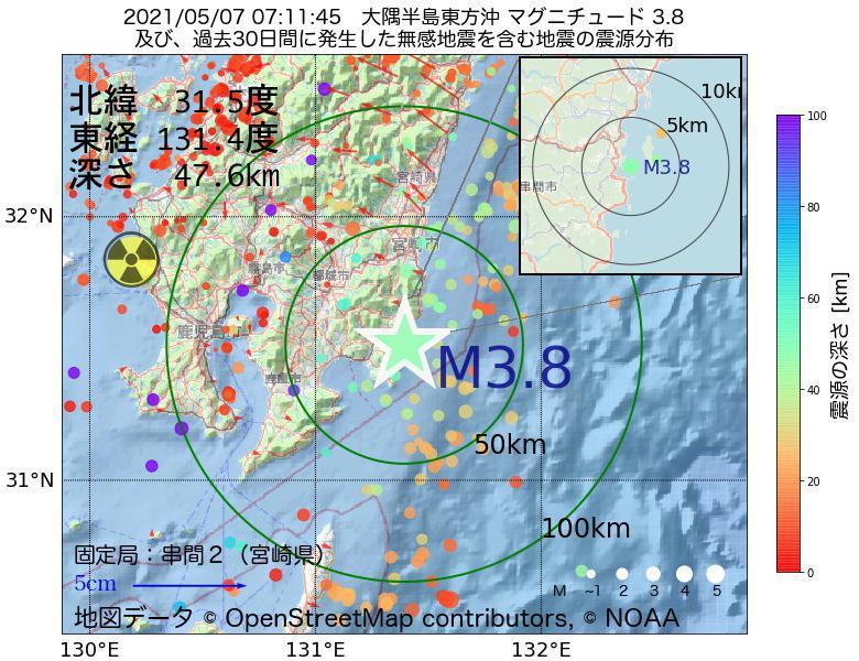 地震震源マップ:2021年05月07日 07時11分 大隅半島東方沖でM3.8の地震