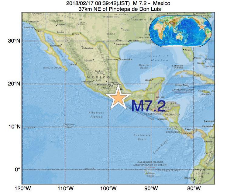 2018年02月17日 08時39分 - メキシコでM7.2の地震