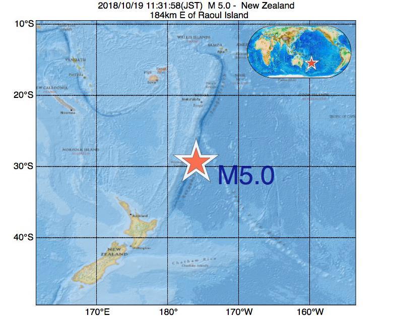 2018年10月19日 11時31分 - ニュージーランドでM5.0の地震
