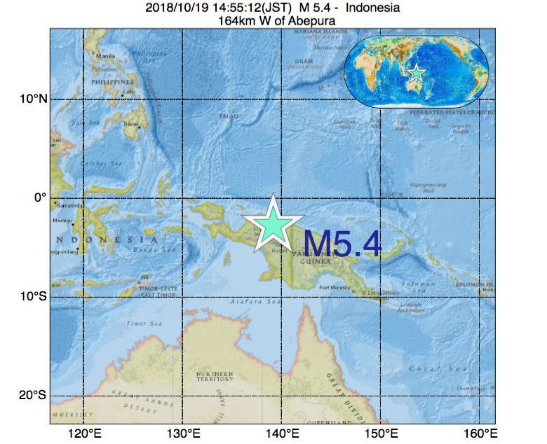 2018年10月19日 14時55分 - インドネシアでM5.4の地震