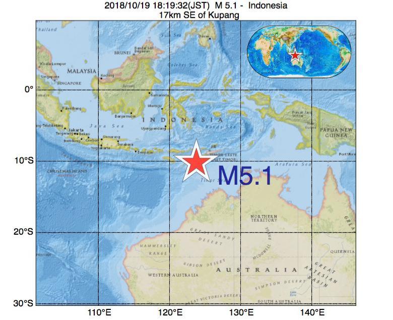 2018年10月19日 18時19分 - インドネシアでM5.1の地震