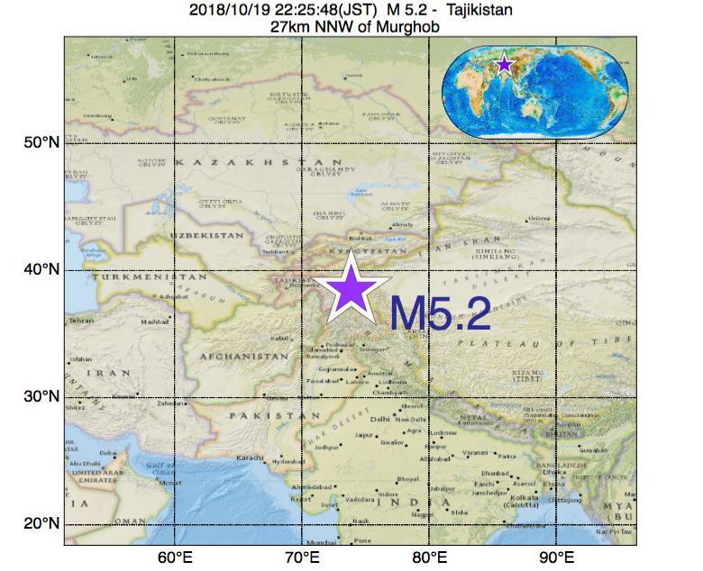 2018年10月19日 22時25分 - タジキスタンでM5.2の地震