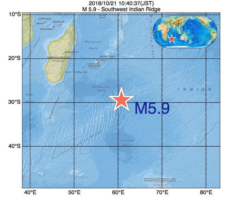 2018年10月21日 10時40分 - 南西インド洋海嶺でM5.9の地震