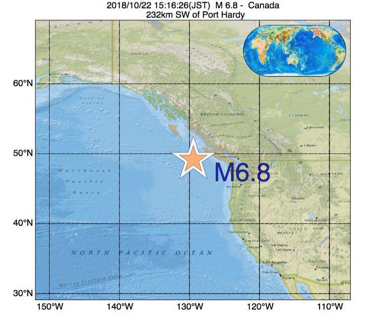 2018年10月22日 15時16分 - カナダでM6.8の地震