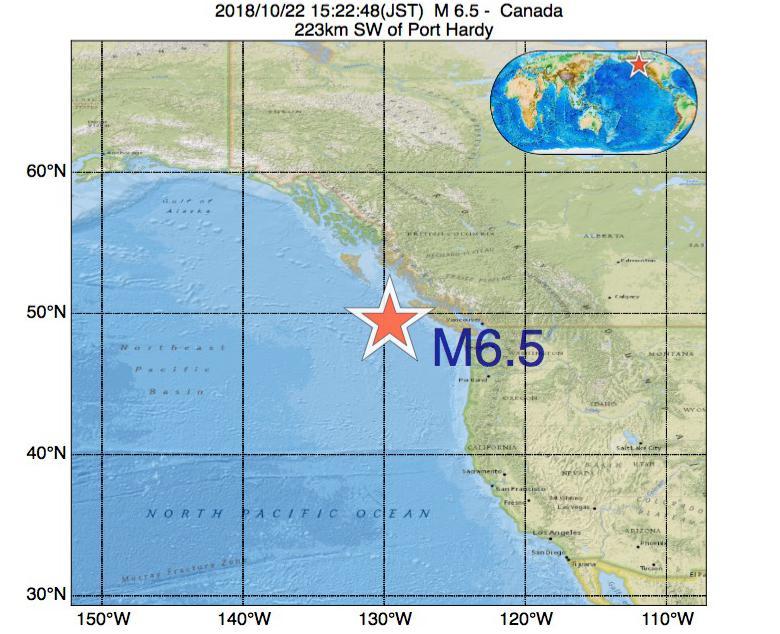 2018年10月22日 15時22分 - カナダでM6.5の地震