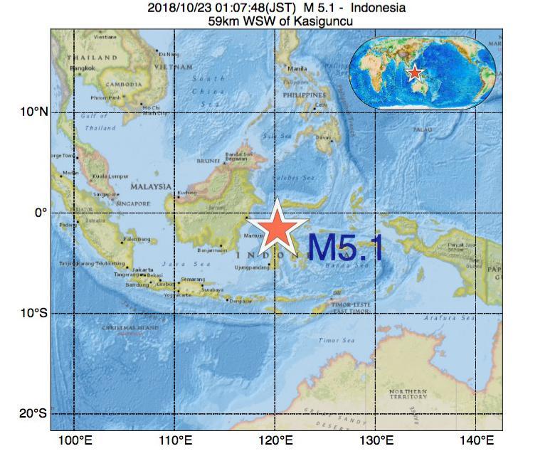 2018年10月23日 01時07分 - インドネシアでM5.1の地震