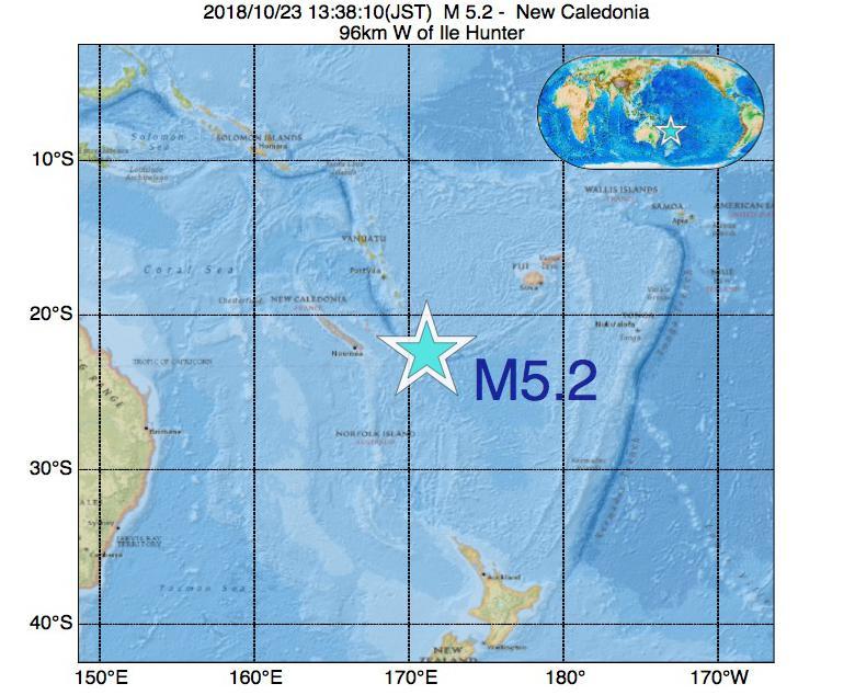 2018年10月23日 13時38分 - ニューカレドニアでM5.2の地震