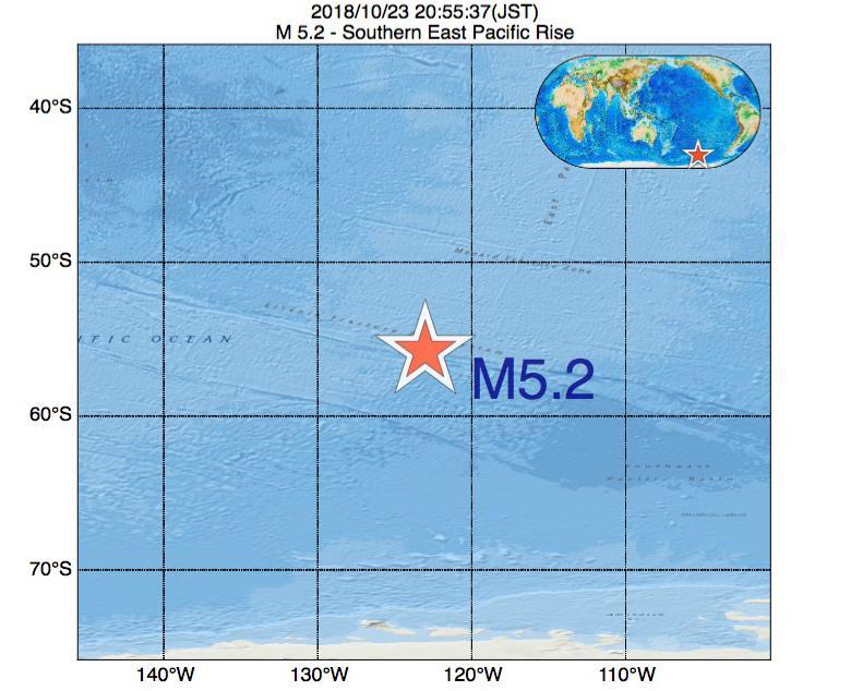 2018年10月23日 20時55分 - 東太平洋海嶺南方でM5.2の地震