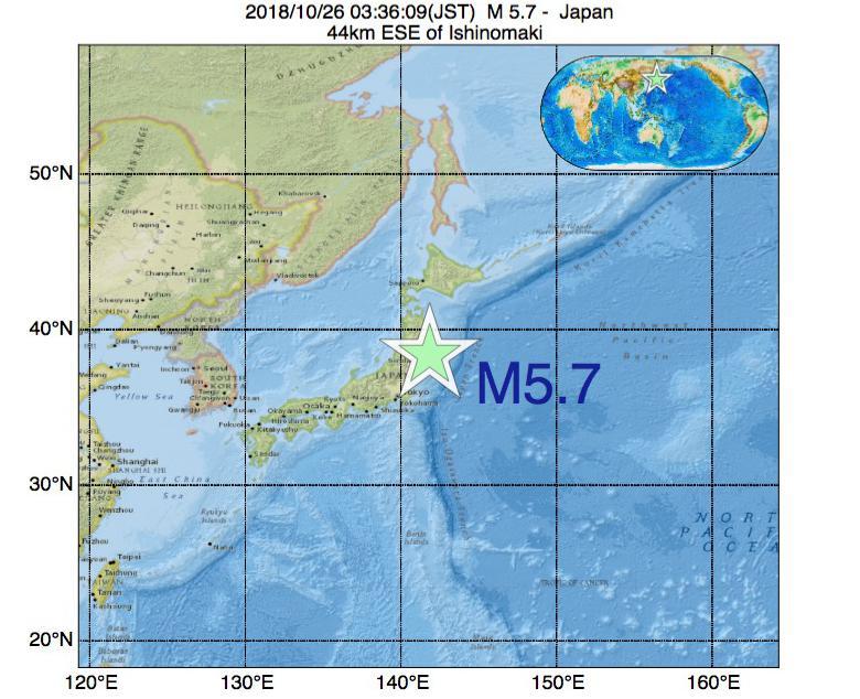 2018年10月26日 03時36分 - 日本でM5.7