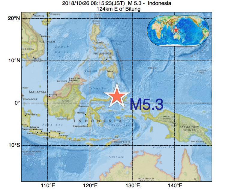 2018年10月26日 08時15分 - インドネシアでM5.3