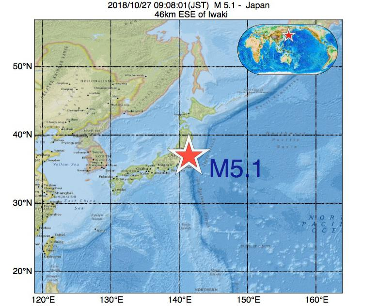 2018年10月27日 09時08分 - 日本でM5.1