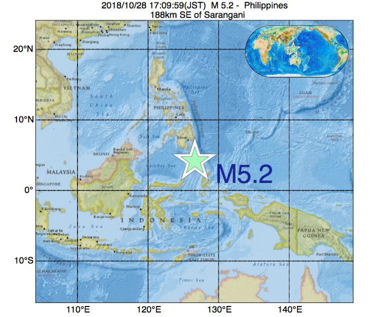 2018年10月28日 17時09分 - フィリピンでM5.2