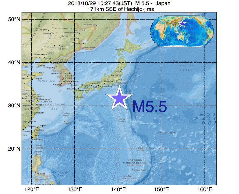 2018年10月29日 10時27分 - 日本でM5.5
