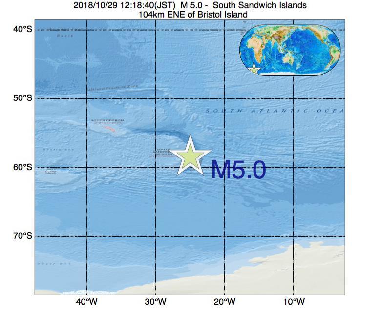 2018年10月29日 12時18分 - サウスサンドウィッチ諸島付近でM5.0