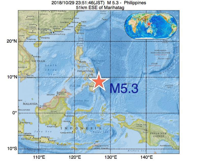 2018年10月29日 23時51分 - フィリピンでM5.3