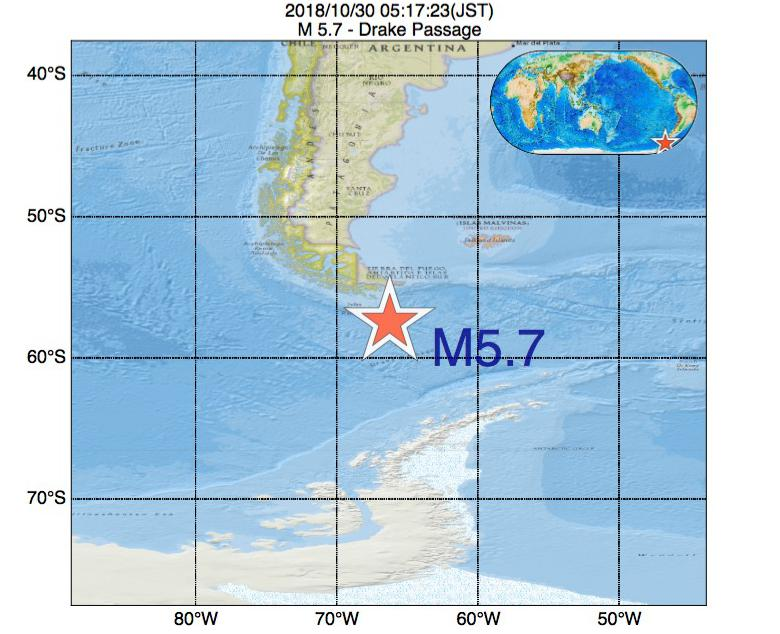 2018年10月30日 05時17分 - Drake PassageでM5.7