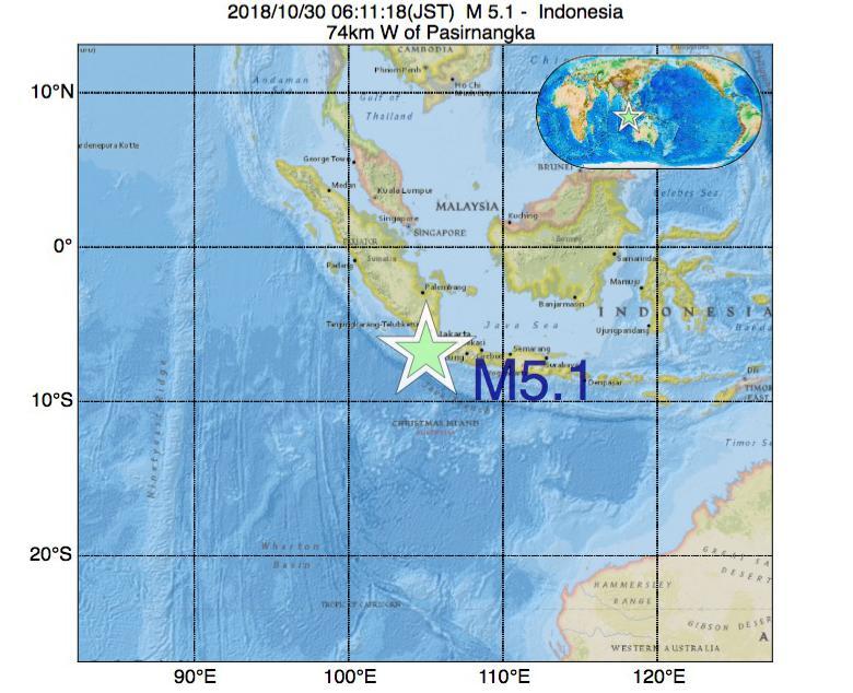 2018年10月30日 06時11分 - インドネシアでM5.1