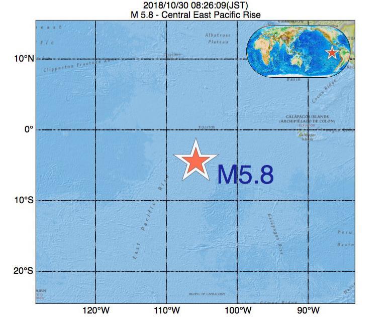 2018年10月30日 08時26分 - 中央東太平洋海嶺でM5.8